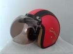 helm bogo kulit warna merah hitam classic