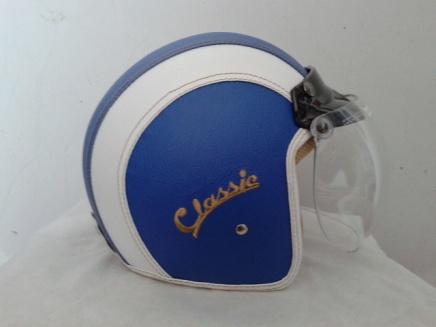 helm bogo kulit biru putih classic