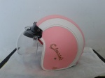 helm bogo pink putih classic