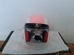helm bogo kulit pink putih classic