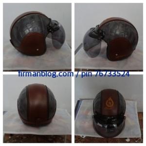 helm bogo coklat hitam classic