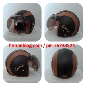 helm bogo kulit hitam coklat classcic