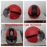 helm bogo kulit merah hitam