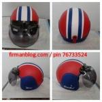 helm bogo kulit merah biru