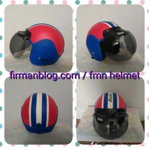 helm bogo merah biru