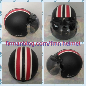 helm bogo hitam strip merah